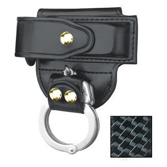 Gould & Goodrich Mag Case/ Cuff Holder with Brass Hardware Basket Weave Black
