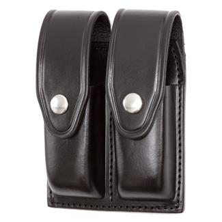 Gould & Goodrich Double Mag Case with Nickel Hardware Plain Black