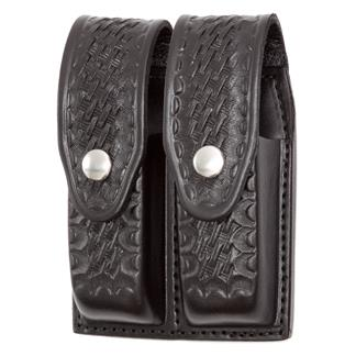 Gould & Goodrich Double Mag Case with Nickel Hardware Black Basket Weave