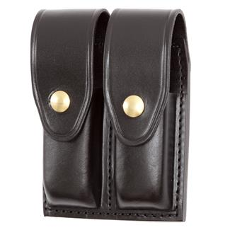 Gould & Goodrich Double Mag Case with Brass Hardware Black Plain