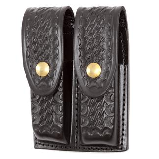 Gould & Goodrich Double Mag Case with Brass Hardware Basket Weave Black