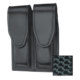 Gould & Goodrich Double Mag Case with Hidden Snap Basket Weave Black