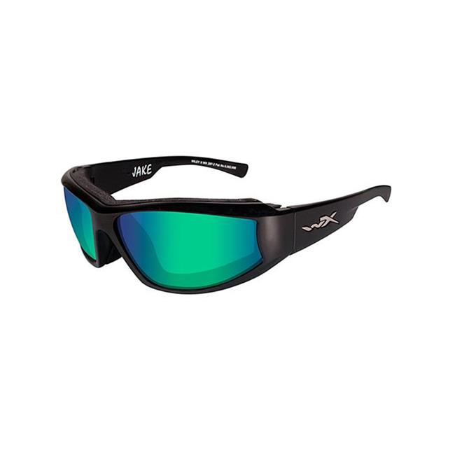 Wiley X Jake Gloss Black Polarized Emerald Mirror