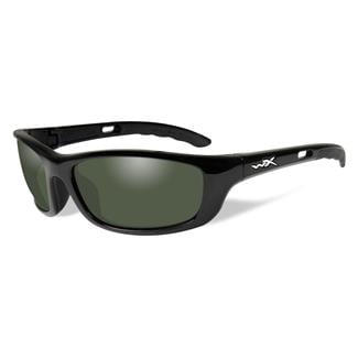 Wiley X P-17 Gloss Black (frame) - Polarized Smoke Green (lens)