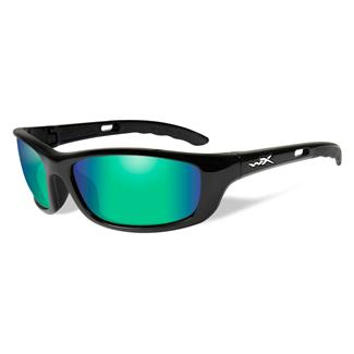 Wiley X P-17 Gloss Black (frame) - Polarized Emerald Mirror (lens)