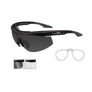 Wiley X WX Talon Smoke Gray / Clear Matte Black 2 Lenses w/ RX Insert