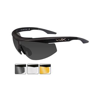 Wiley X WX Talon Matte Black (frame) - Smoke Gray / Clear / Light Rust (3 Lenses)