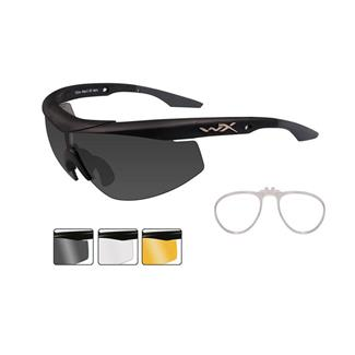 Wiley X WX Talon Matte Black (frame) - Smoke Gray / Clear / Light Rust (3 Lenses w/ RX Insert)
