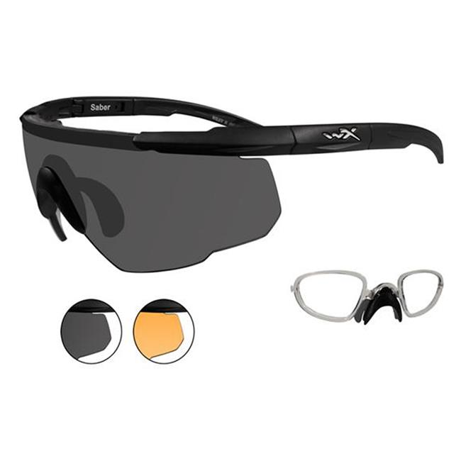 Wiley X Saber Advanced 2 Lenses w/ RX Insert Matte Black Smoke Gray / Light Rust