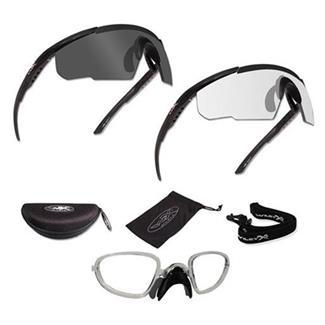 Wiley X Saber Advanced Matte Black Smoke Gray / Clear 2 Frame w/ RX Insert