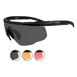 Wiley X Saber Advanced Smoke Gray / Light Rust / Vermillion 3 Lenses Matte Black