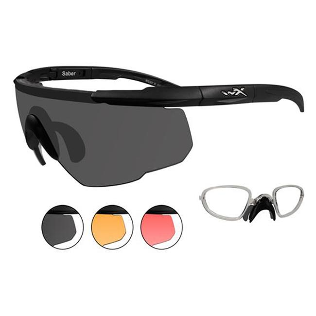 Wiley X Saber Advanced 3 Lenses w/ RX Insert Matte Black Smoke Gray / Light Rust / Vermillion