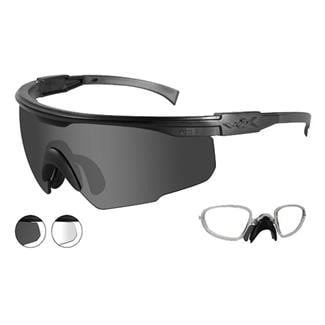 Wiley X PT-1 Smoke Gray / Clear Matte Black 2 Lenses w/ RX Insert