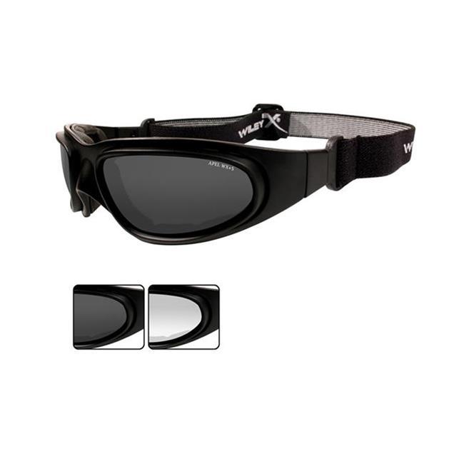 Wiley X SG-1 Smoke Gray / Clear Matte Black Asian Fit 2 Lenses