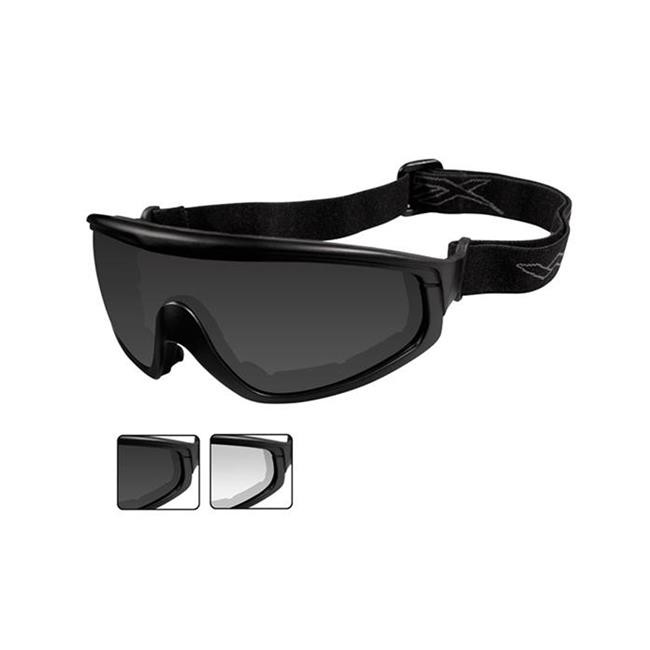 Wiley X CQC Smoke Gray / Clear Matte Black 2 Lenses