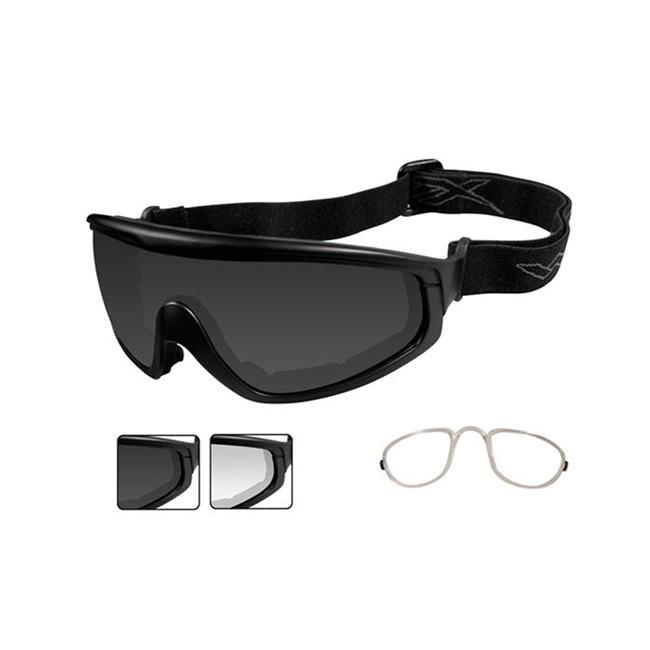 Wiley X CQC Matte Black 2 Lenses w/ RX Insert Smoke Gray / Clear