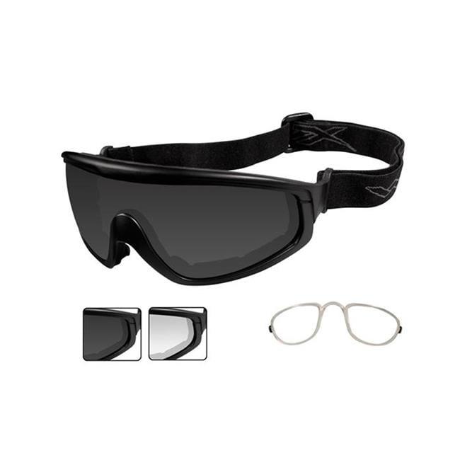 Wiley X CQC Smoke Gray / Clear Matte Black 2 Lenses w/ RX Insert