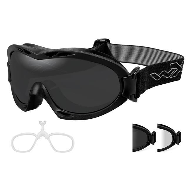 Wiley X Nerve Matte Black 2 Lenses w/ RX Insert Smoke Gray / Clear