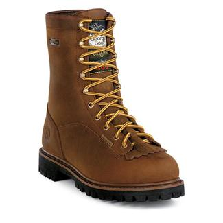 "Georgia 8"" Low-Heel Logger WP 400G Dark Brown Crazy Horse"