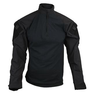TRU-SPEC Nylon   Cotton 1 4 Zip Tactical Response Combat Shirt Black   dbf4ff263b2