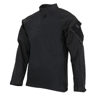 TRU-SPEC Poly / Cotton 1/4 Zip Tactical Response Combat Shirt Black / Black