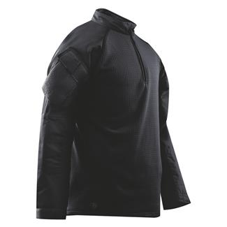TRU-SPEC Poly / Spandex Ripstop 1/4 Zip Winter Combat Shirts Black / Black