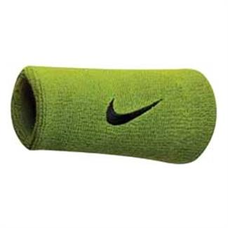 NIKE Swoosh Doublewide Wristband (2 pack) Atomic Green / Black