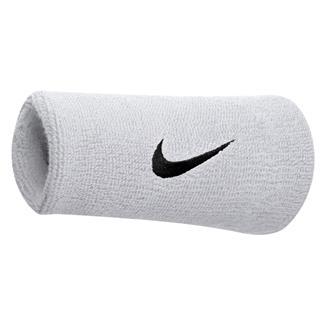 NIKE Swoosh Doublewide Wristband (2 pack) White / Black