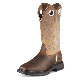 "Ariat 13"" Workhog Wide Square Toe ST Earth / Beige"