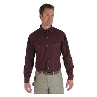 Wrangler Riggs Relaxed Fit Twill Work Shirt Burgundy