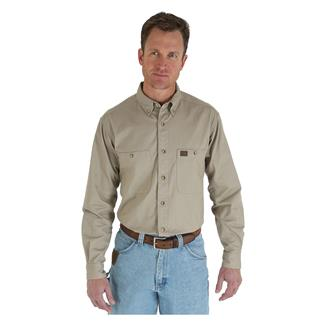 Wrangler Riggs Relaxed Fit Twill Work Shirt Khaki