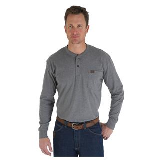 Wrangler Riggs Long Sleeve Pocket Henley Charcoal Grey