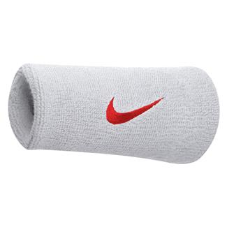 NIKE Swoosh Doublewide Wristband (2 pack) White / Varsity Red