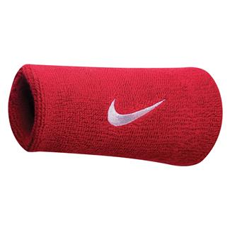 NIKE Swoosh Doublewide Wristband (2 pack) Varsity Red / White