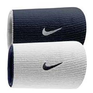 NIKE Dri-FIT Home & Away Doublewide Wristband (2 pack) Obsidian / White