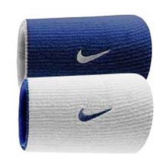 NIKE Dri-FIT Home & Away Doublewide Wristband (2 pack) Varsity Royal / White