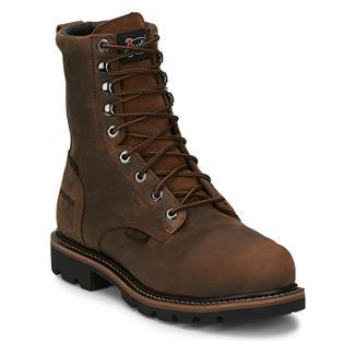 "Justin Original Work Boots 8"" Pulley Round Toe Met Guard CT WP Wyoming Peanut"