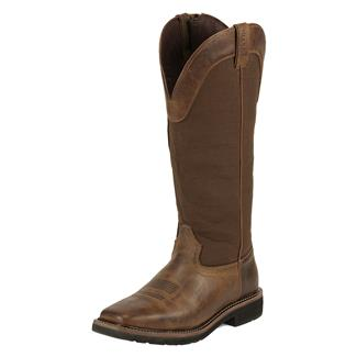 "Justin Original Work Boots 17"" Fielder Snake Boots SZ Rugged Tan / Brown"