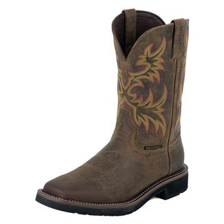 "Justin Original Work Boots 11"" Driller Square Toe WP Rugged Tan"