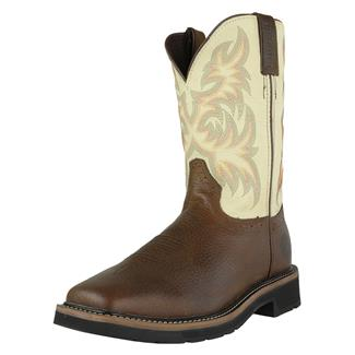 "Justin Original Work Boots 11"" Driller Square Toe Copper Kettle Rowdy / Titanium White"