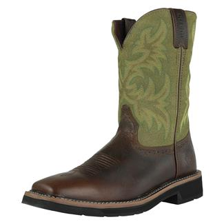 """Justin Original Work Boots 11"""" Stampede Square Toe Waxy Brown / Hunter Green"""