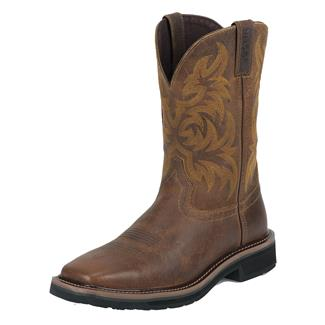 "Justin Original Work Boots 11"" Stampede Square Toe Non-Metallic Tan Tail"