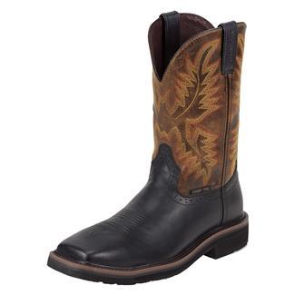 "Justin Original Work Boots 11"" Stampede Square Toe CT Black Oiled / Vintage Tan"