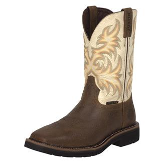 "Justin Original Work Boots 11"" Stampede Square Toe ST Copper Kettle Rowdy / Titanium White"
