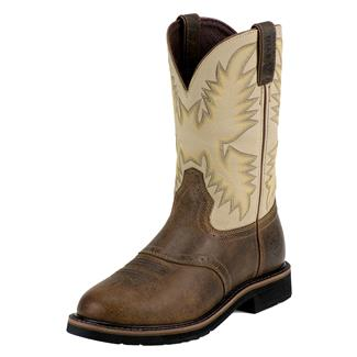 """Justin Original Work Boots 11"""" Stampede Round Toe Waxy Brown / Sawdust"""