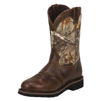 "Justin Original Work Boots 11"" Trekker Round Toe Non-Metallic WP Rugged Tan / RealTree AP"