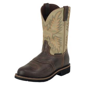 "Justin Original Work Boots 11"" Stampede Round Toe WP Waxy Brown / Sawdust"