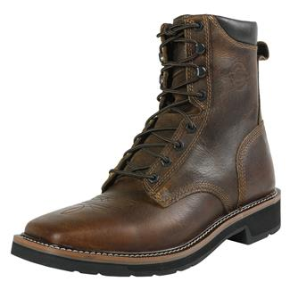 """Justin Original Work Boots 8"""" Pulley Square Toe Rugged Tan"""
