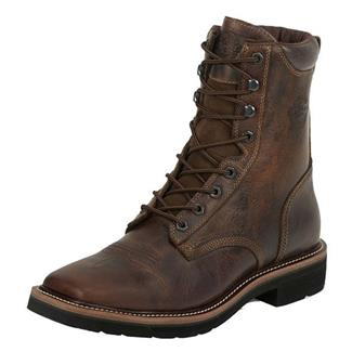 """Justin Original Work Boots 8"""" Pulley Square Toe ST Rugged Tan"""