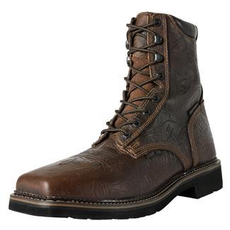 """Justin Original Work Boots 8"""" Driller Square Toe CT WP Rustic Barnwood"""